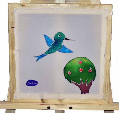 батик, батик обучение, детский батик, детское творчество, колибри, роспись тканей, холодный батик