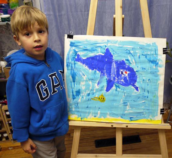 """Художественная школа """"BATIK 4 ART""""- Пётр нарисовал портрет дельфина"""